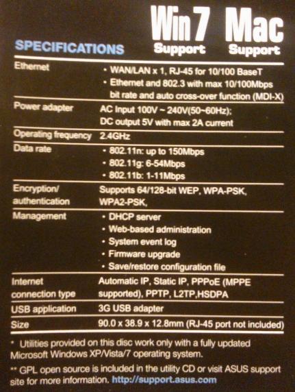 Asus WL-330N3G specifications   www.nowbest.ru