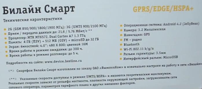 БиЛайн Смарт характеристики   www.nowbest.ru